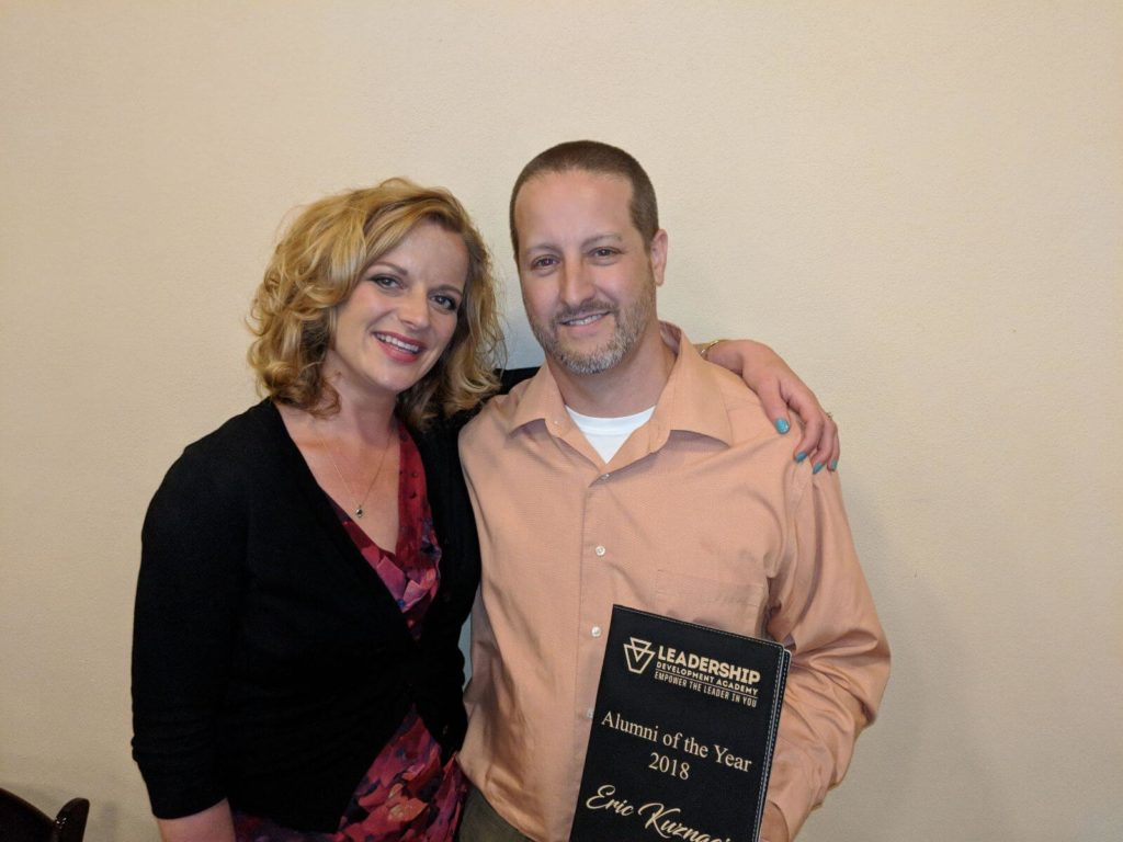 Eric Kuznacic, LDA Class of 2010 graduate, and his wife Katie at the 2018 LDA Graduation Ceremony