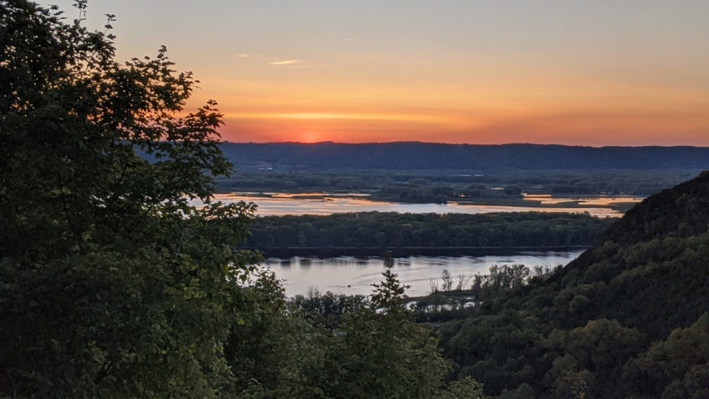 A September sunset view over the Mississippi River near DeSoto, WI