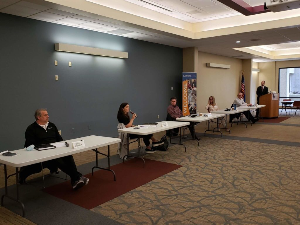 Mike Davis moderates the LDA Community Involvement and Civic Responsibilities Panel in April 2021